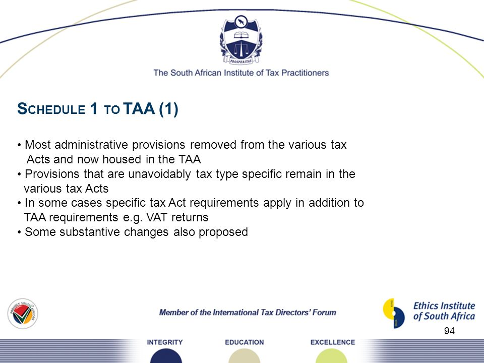 SCHEDULE 1 TO TAA (1) • Most administrative provisions removed from the various tax. Acts and now housed in the TAA.