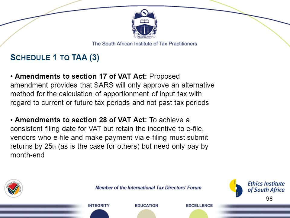 SCHEDULE 1 TO TAA (3) • Amendments to section 17 of VAT Act: Proposed