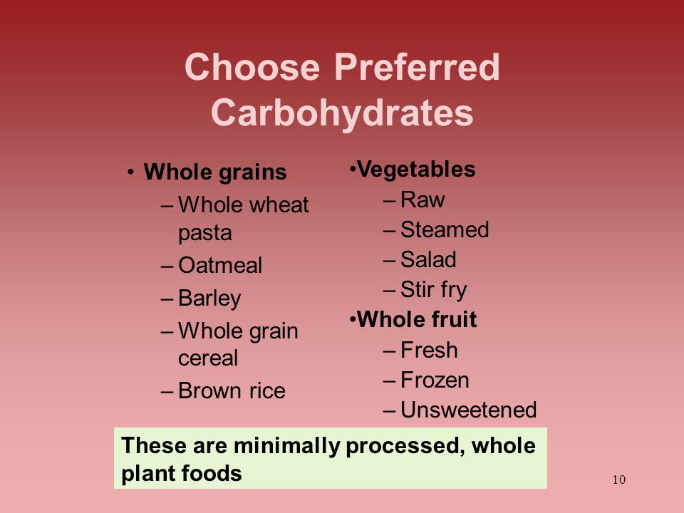 Choose Preferred Carbohydrates