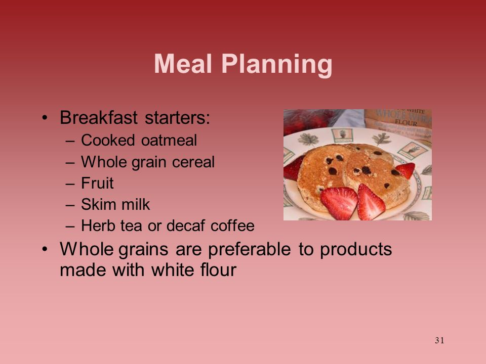 Meal Planning Breakfast starters: