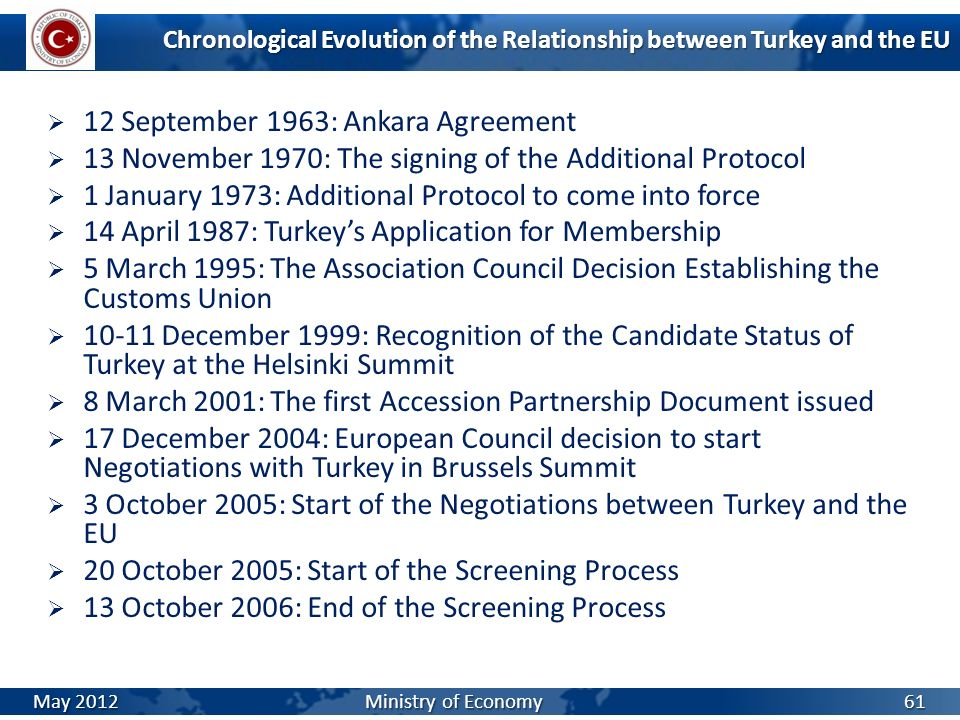 Chronological Evolution of the Relationship between Turkey and the EU