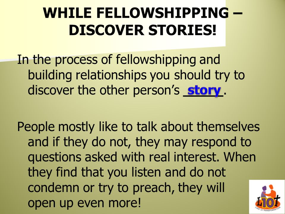 WHILE FELLOWSHIPPING – DISCOVER STORIES!
