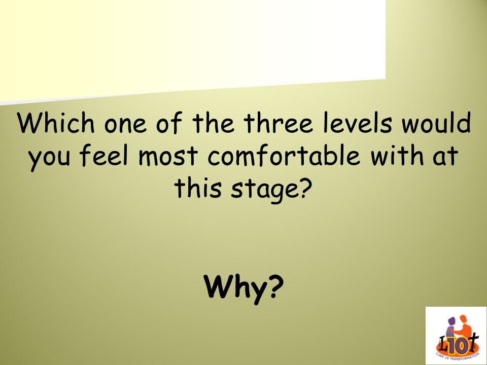 Which one of the three levels would you feel most comfortable with at this stage