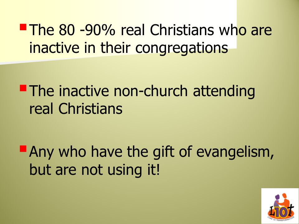 The % real Christians who are inactive in their congregations