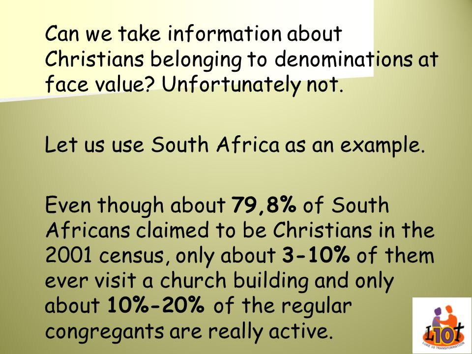 Can we take information about Christians belonging to denominations at face value Unfortunately not.