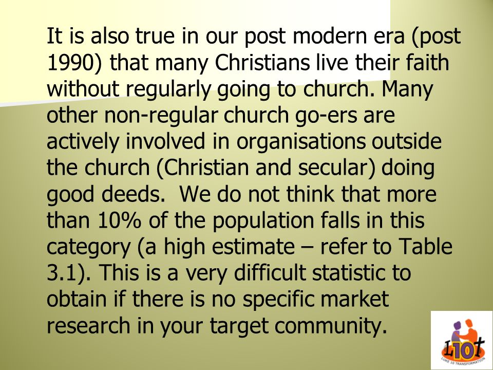 It is also true in our post modern era (post 1990) that many Christians live their faith without regularly going to church.