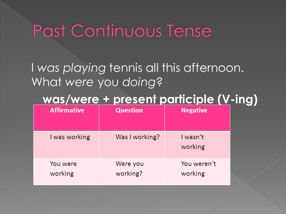 was/were + present participle (V-ing)