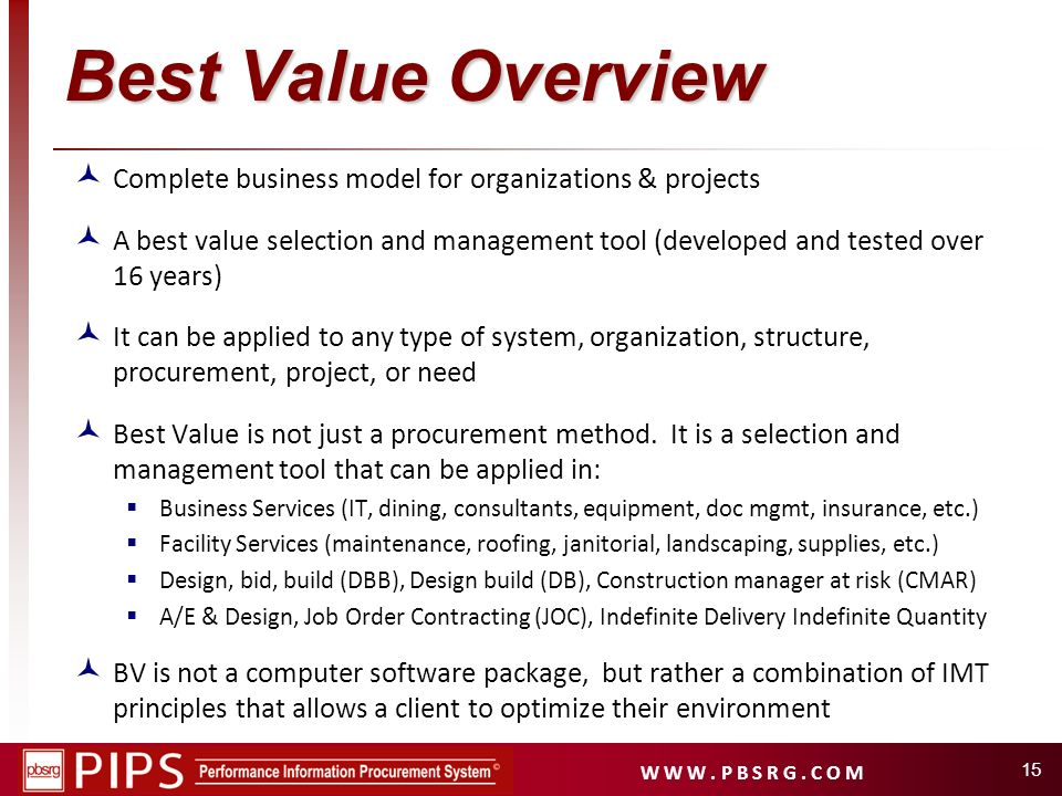 Best Value Overview Complete business model for organizations & projects.