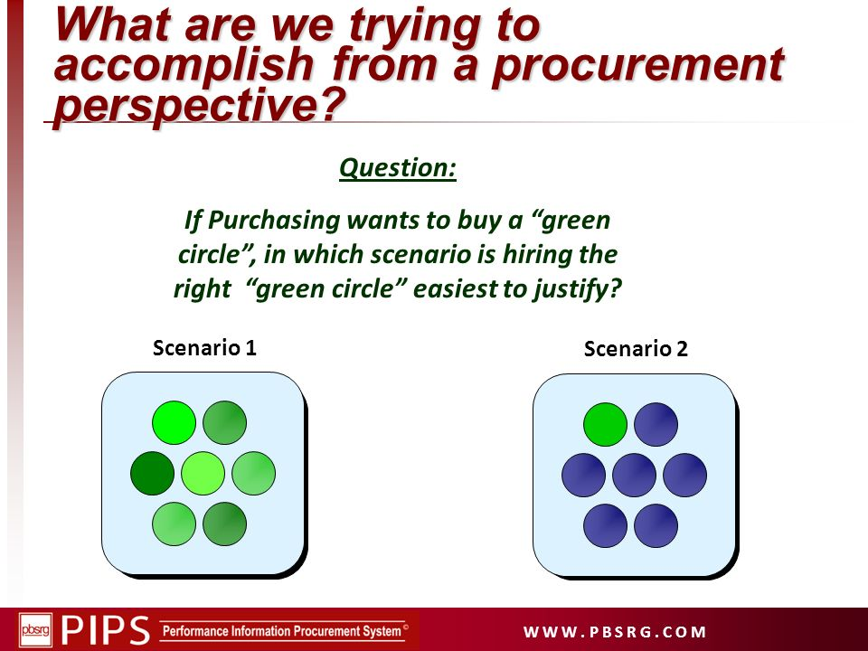 What are we trying to accomplish from a procurement perspective