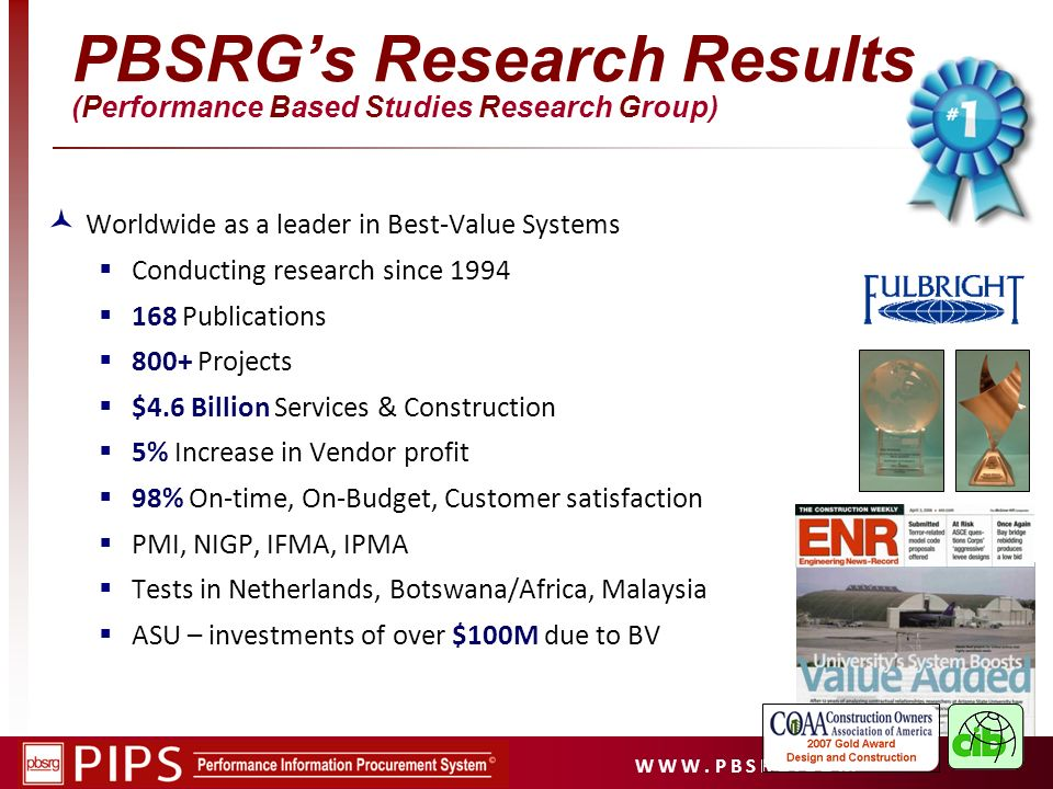 PBSRG's Research Results (Performance Based Studies Research Group)