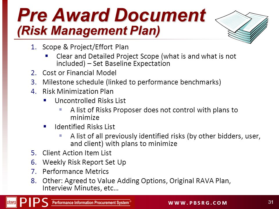 Pre Award Document (Risk Management Plan)