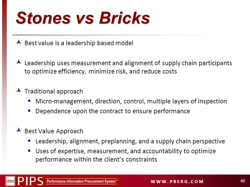 Stones vs Bricks Best value is a leadership based model