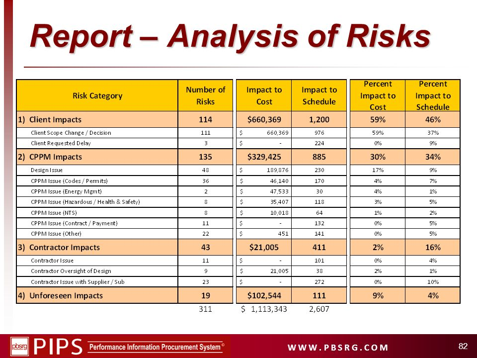 Report – Analysis of Risks