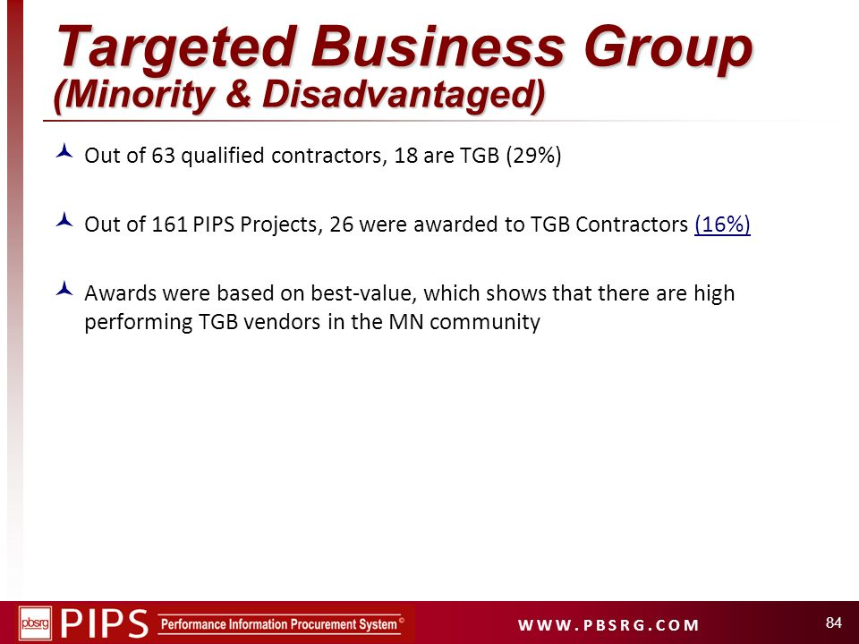 Targeted Business Group (Minority & Disadvantaged)