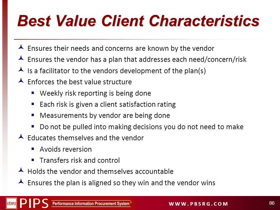 Best Value Client Characteristics