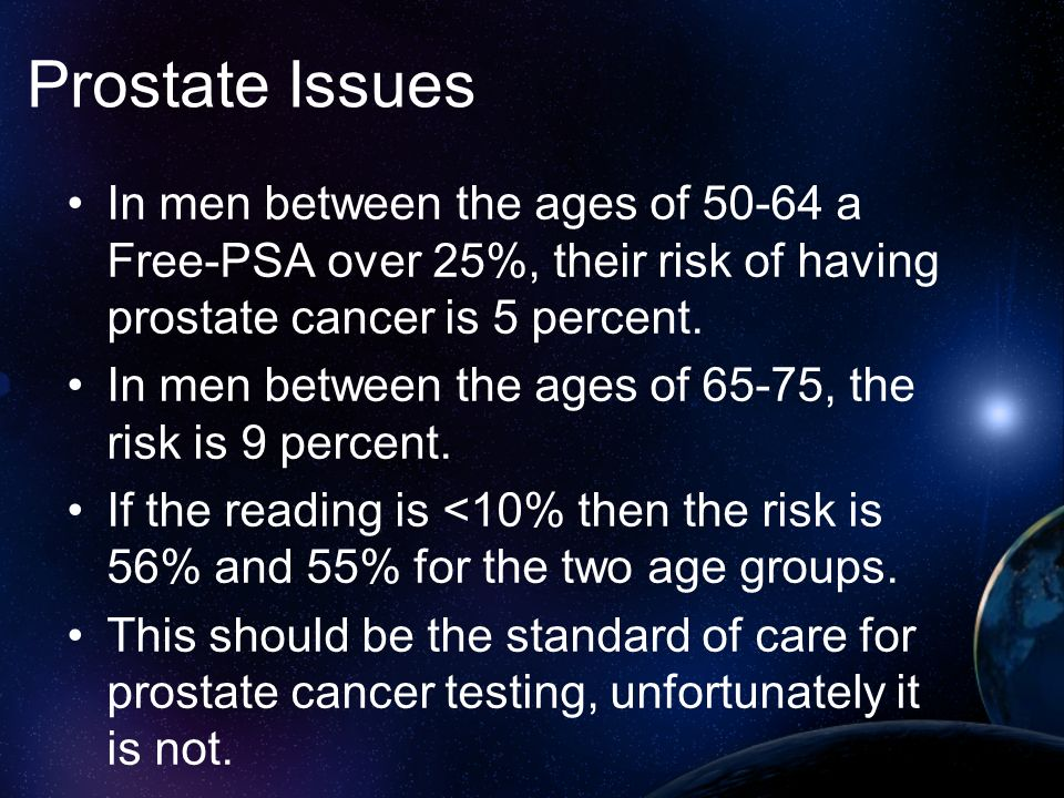 Prostate Issues In men between the ages of 50-64 a Free-PSA over 25%, their risk of having prostate cancer is 5 percent.