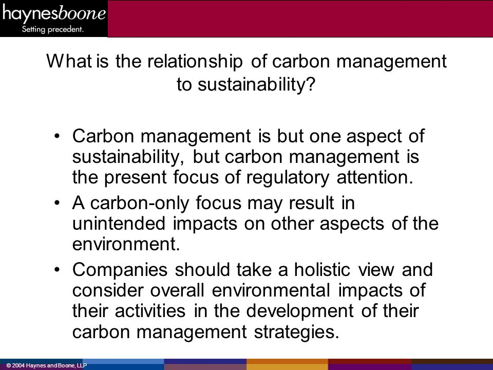 What is the relationship of carbon management to sustainability