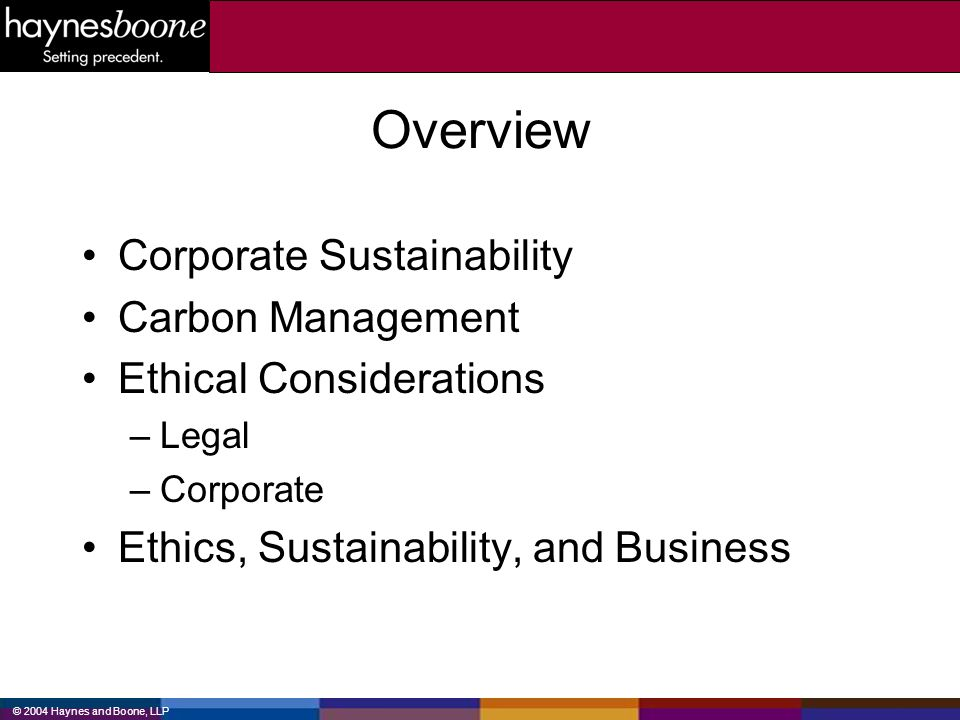 Overview Corporate Sustainability Carbon Management
