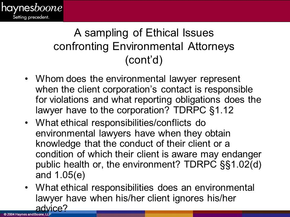 A sampling of Ethical Issues confronting Environmental Attorneys (cont'd)