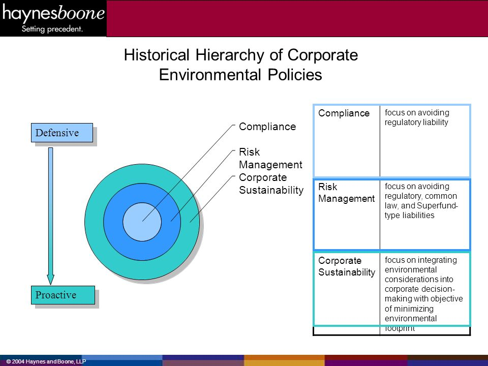 Historical Hierarchy of Corporate Environmental Policies