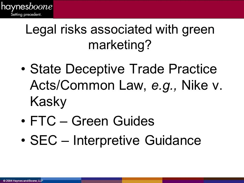 Legal risks associated with green marketing
