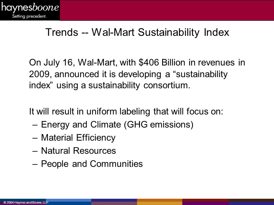 Trends -- Wal-Mart Sustainability Index