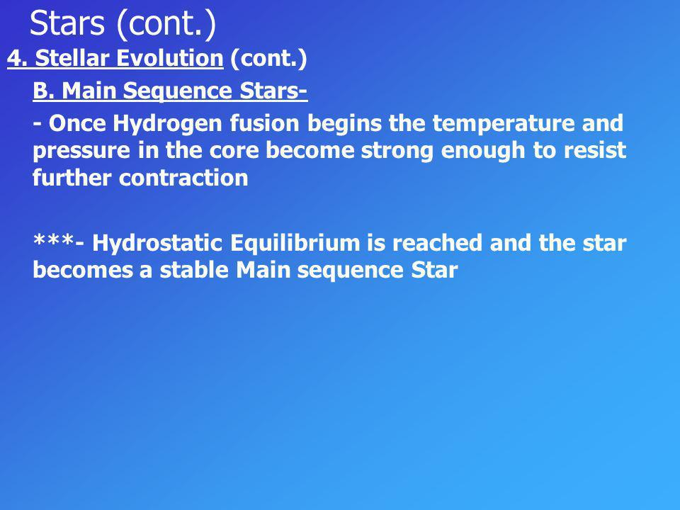 Stars (cont.) 4. Stellar Evolution (cont.) B. Main Sequence Stars-
