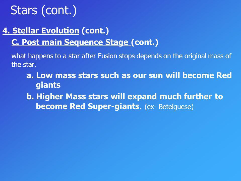 Stars (cont.) 4. Stellar Evolution (cont.) C. Post main Sequence Stage (cont.)