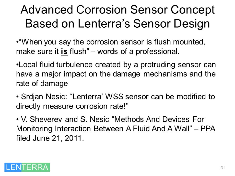 Advanced Corrosion Sensor Concept Based on Lenterra's Sensor Design