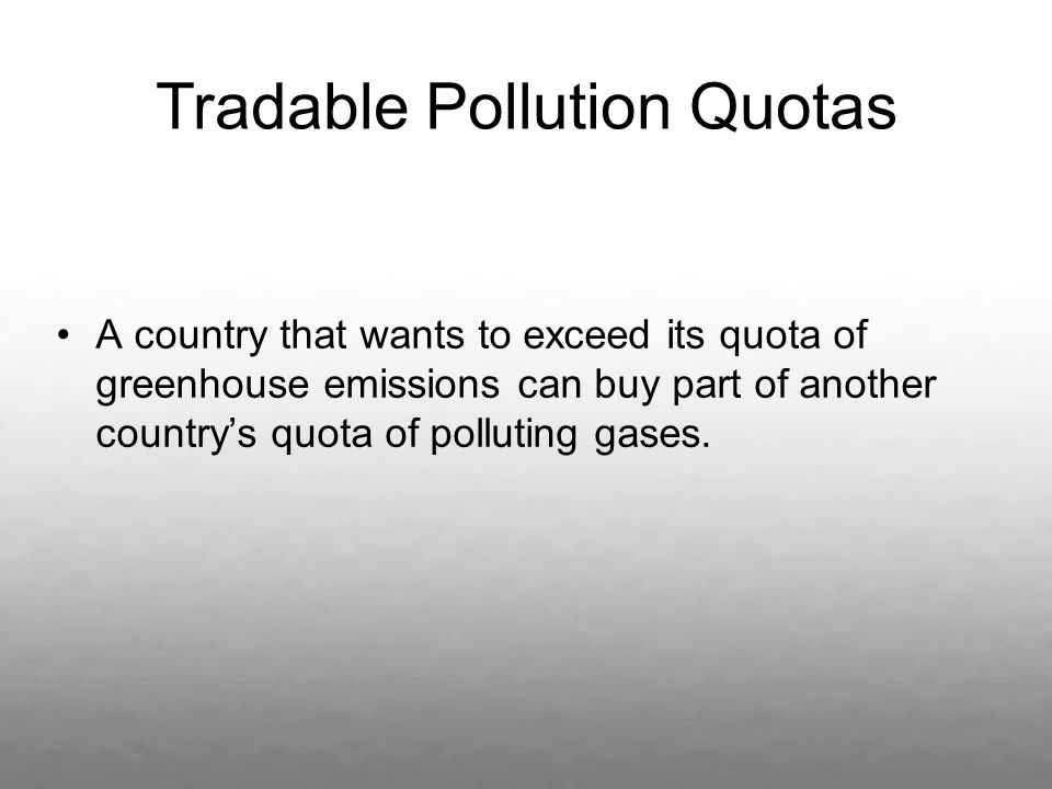 Tradable Pollution Quotas