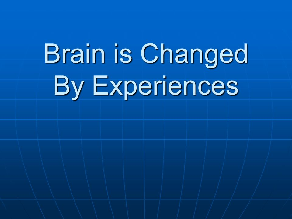 Brain is Changed By Experiences