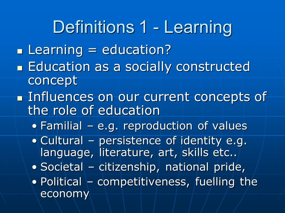 Definitions 1 - Learning