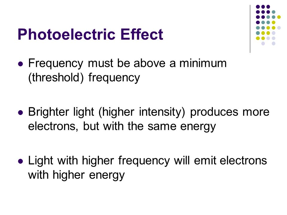 Photoelectric Effect Frequency must be above a minimum (threshold) frequency.