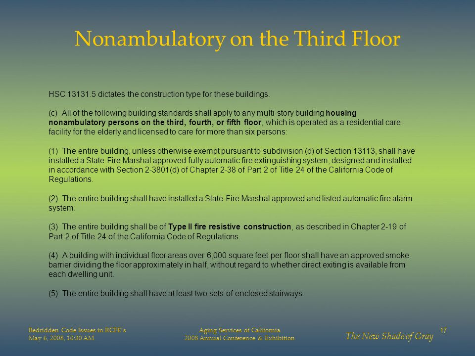 Nonambulatory on the Third Floor