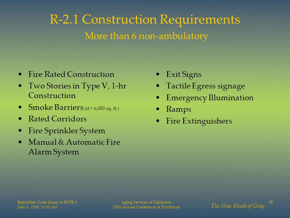 R-2.1 Construction Requirements More than 6 non-ambulatory