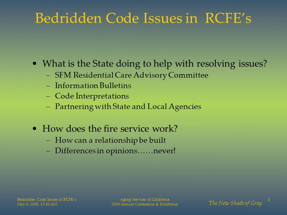 Bedridden Code Issues in RCFE's