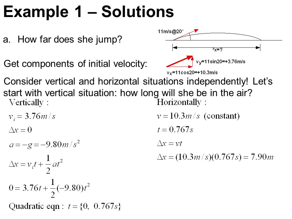 Example 1 – Solutions How far does she jump