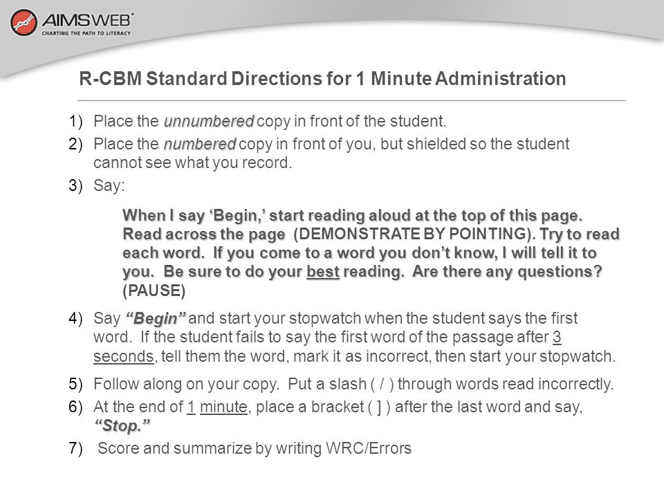 R-CBM Standard Directions for 1 Minute Administration