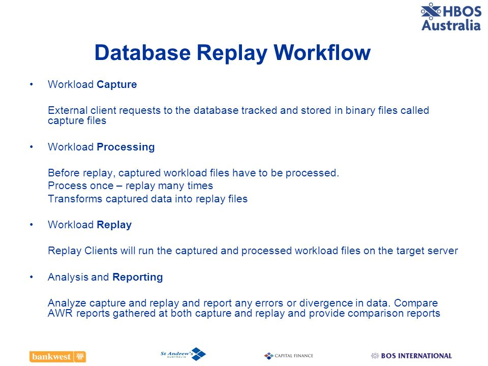 Database Replay Workflow