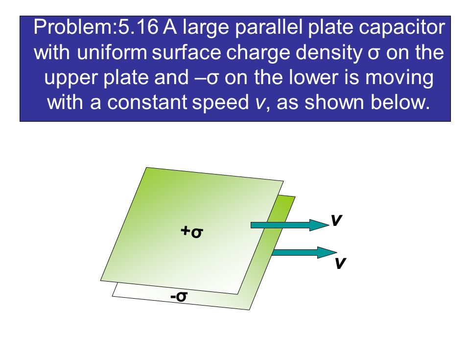 Problem:5.16 A large parallel plate capacitor with uniform surface charge density σ on the upper plate and –σ on the lower is moving with a constant speed v, as shown below.