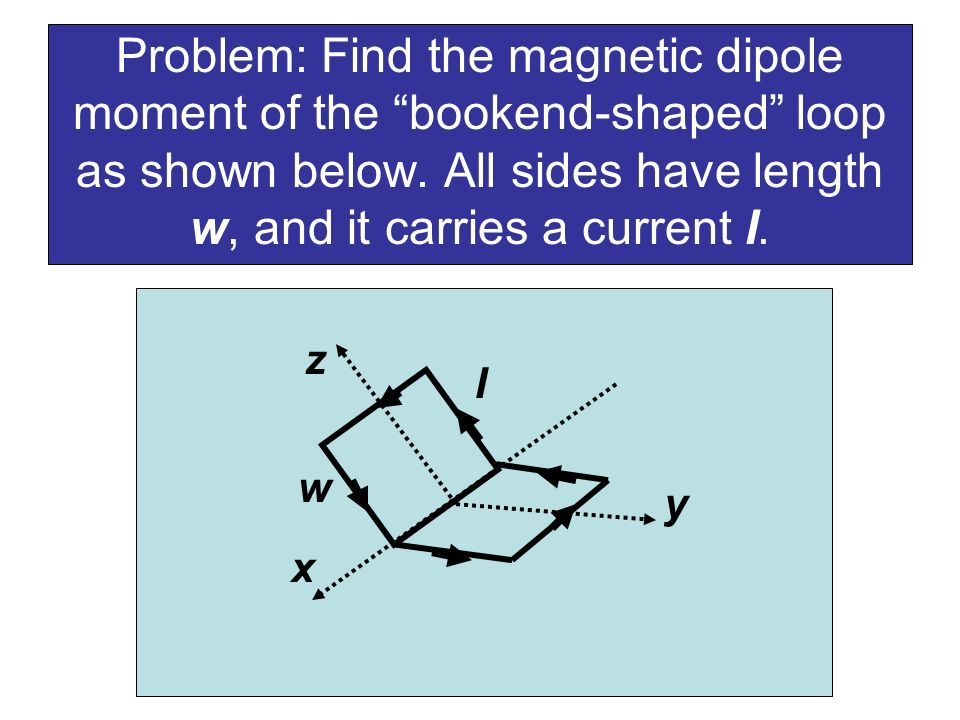Problem: Find the magnetic dipole moment of the bookend-shaped loop as shown below. All sides have length w, and it carries a current I.
