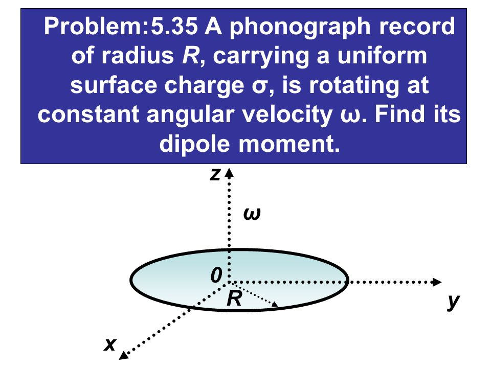 Problem:5.35 A phonograph record of radius R, carrying a uniform surface charge σ, is rotating at constant angular velocity ω. Find its dipole moment.