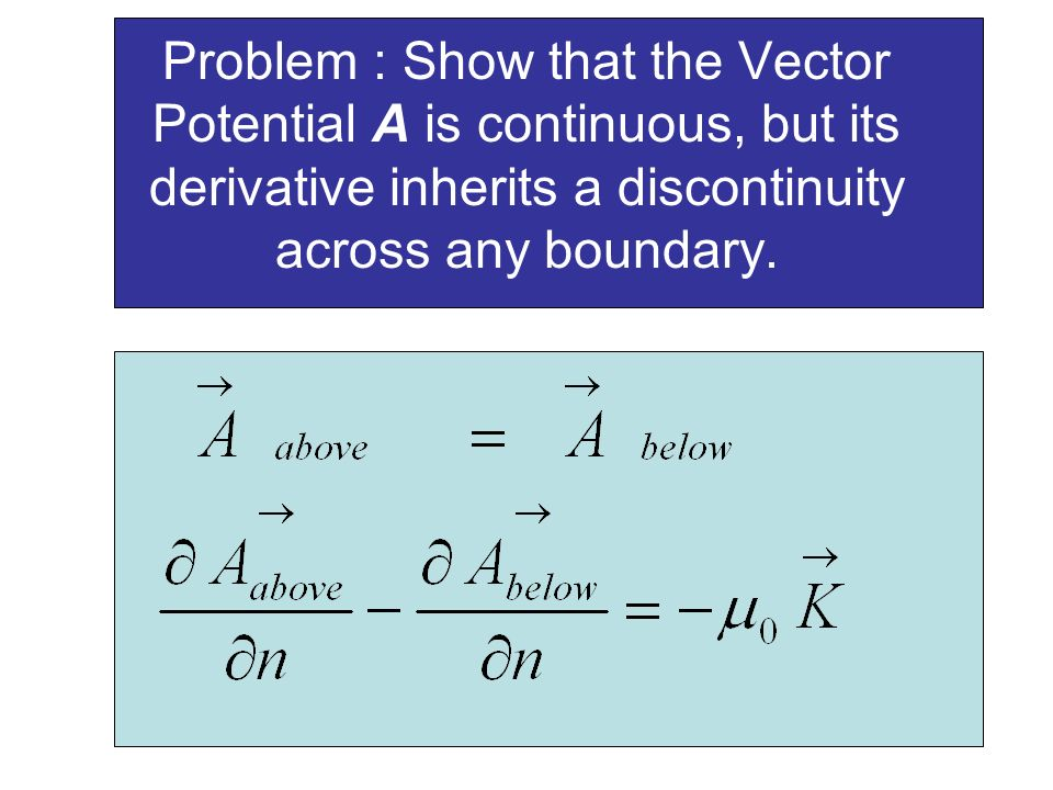 Problem : Show that the Vector Potential A is continuous, but its derivative inherits a discontinuity across any boundary.