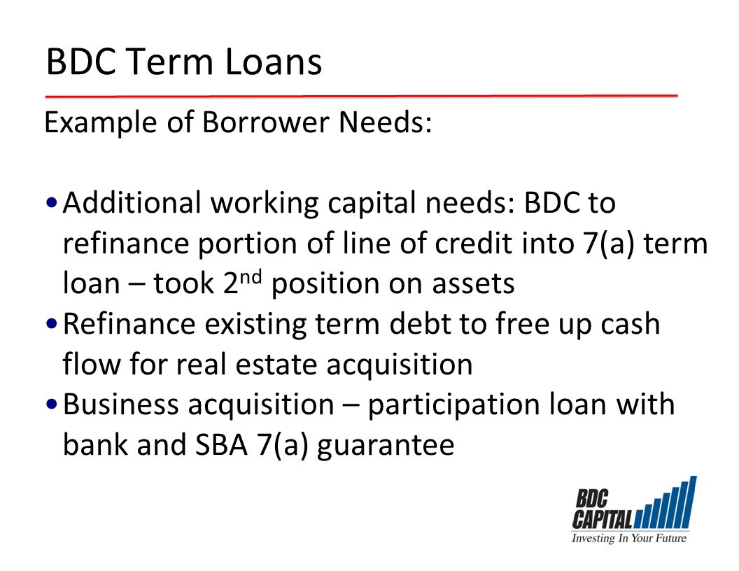 BDC Term Loans Example of Borrower Needs: