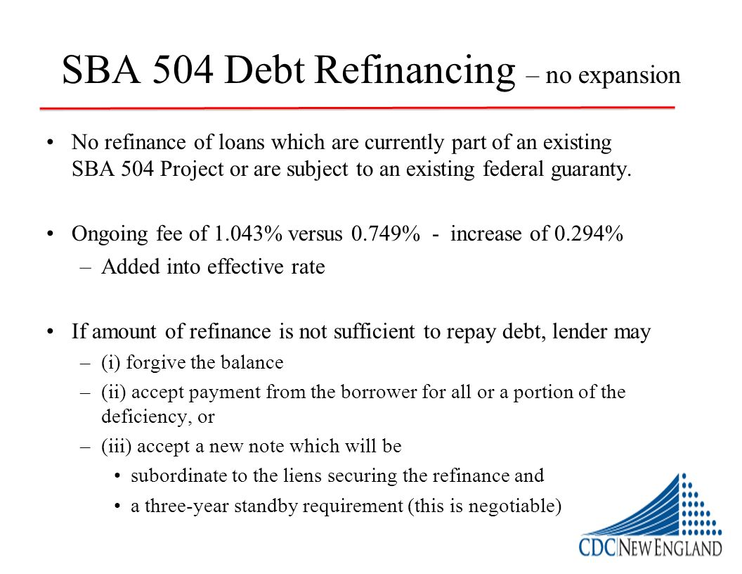 SBA 504 Debt Refinancing – no expansion