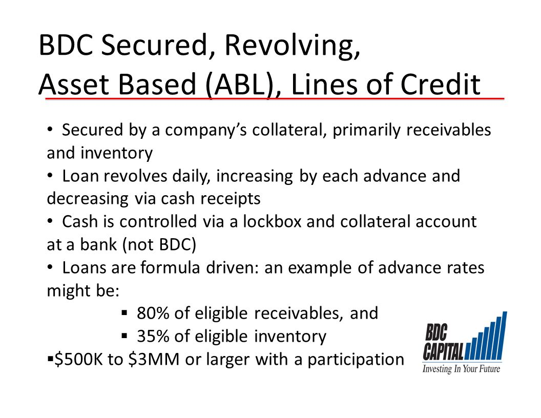 BDC Secured, Revolving, Asset Based (ABL), Lines of Credit