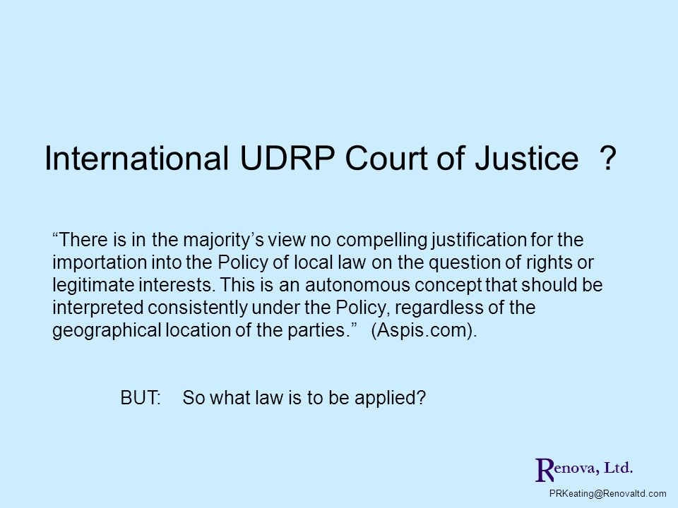 International UDRP Court of Justice