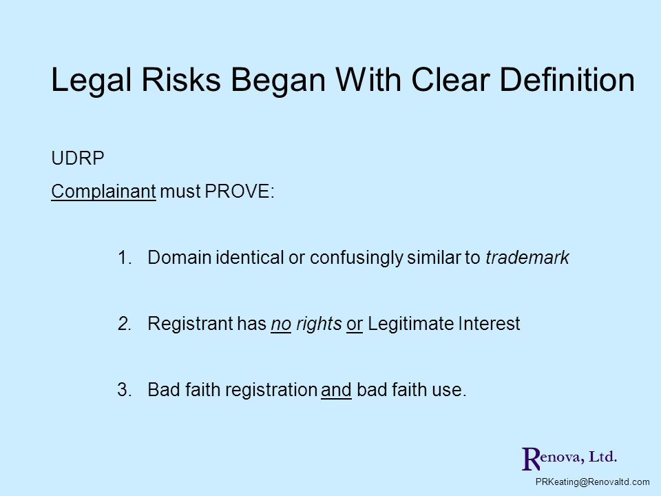 Legal Risks Began With Clear Definition