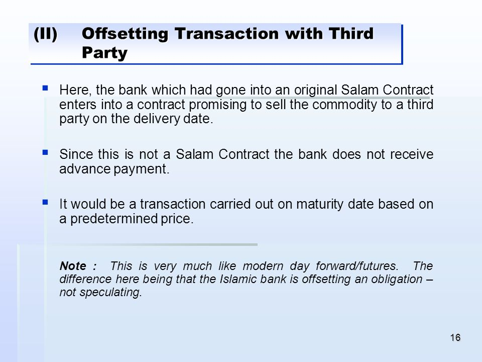 (II) Offsetting Transaction with Third Party