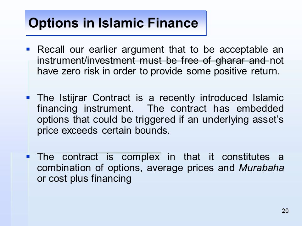 Options in Islamic Finance